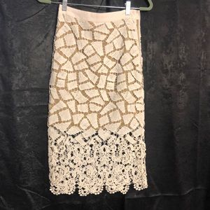 Cream and tan lace skirt